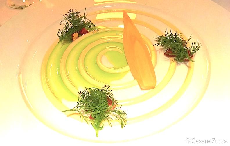 Cicoria marinata, mandorle tostate, aneto e senape