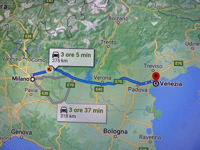 itinerario verso venezia