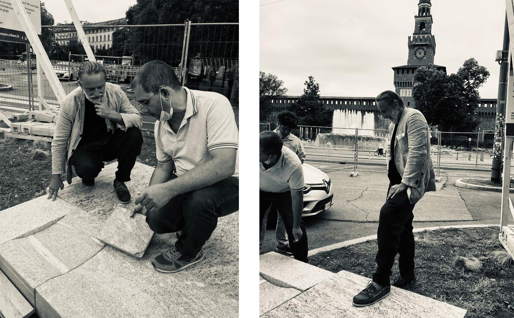 emanuele genuizzi al lavoro in piazza castello